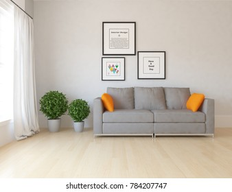 Idea of a white scandinavian living room interior with sofa, vases and pictures on the wall and white landscape in window with curtains. Home nordic interior. 3D illustration