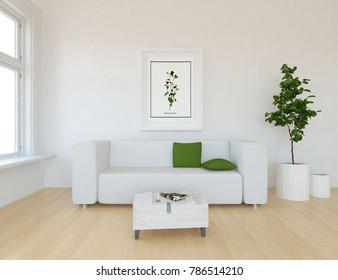 Idea of a white scandinavian living room interior with sofa, table, vases on the wooden floor and picture on the wall and  white landscape in window. Home nordic interior. 3D illustration