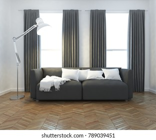 Idea of a white scandinavian living room interior with sofa, lamp and white landscape in windows with curtains. Home nordic interior. 3D illustration