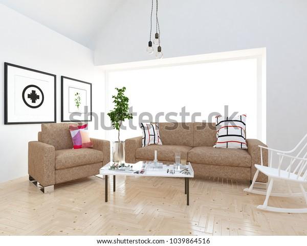 . Idea White Scandinavian Living Room Interior Stock Illustration