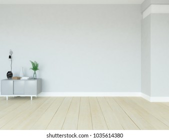 Idea of a white scandinavian room interior with dresser and decor on the floor and large wall and white landscape in window. Home nordic interior. 3D illustration