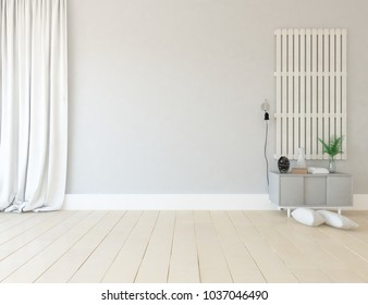 Idea of a white scandinavian room interior with dresser on the wooden floor and decor on the large wall and white landscape in window with curtains. Home nordic interior. 3D illustration