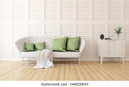 Idea of a white scandinavian room interior with sofa, dresser on the wooden floor and decor on the large wall and white landscape in window. Home nordic interior. 3D illustration
