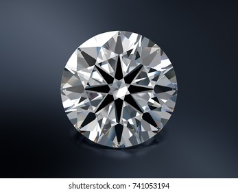 Ideal cut round diamond with visible hearts and arrows pattern, close-up front view on dark blue background. 3D rendering illustration