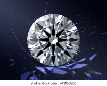 Ideal cut round diamond with visible hearts and arrows pattern, close-up front view on dark blue background with colorful caustics rays. 3D rendering illustration