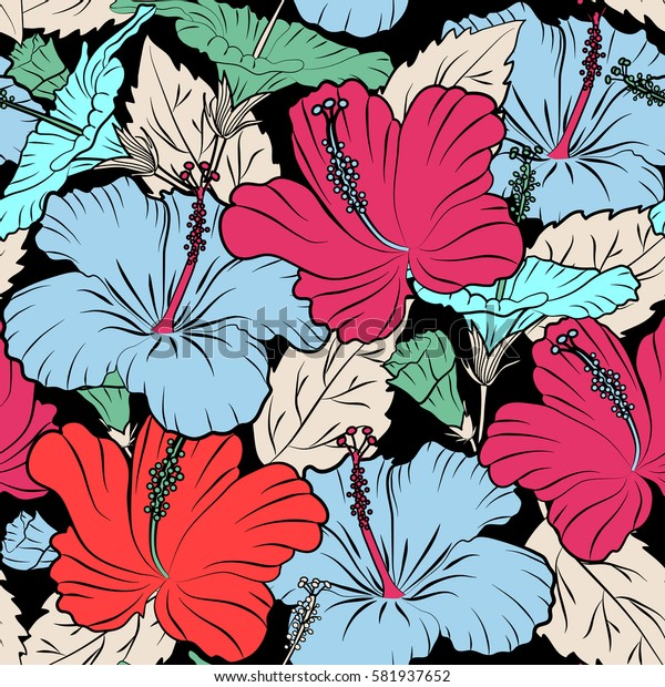 Ideal for web, card, poster, fabric or textile. Hand Drawn tropical style texture. Of hibiscus flowers on a black. Creative universal floral pattern in blue, pink and orange colors.