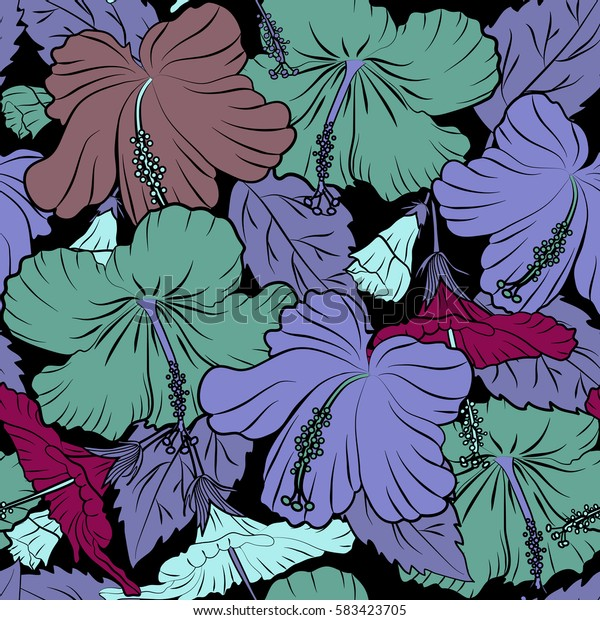 Ideal for web, card, poster, fabric or textile. Hand Drawn tropical style texture. Seamless pattern of hibiscus flowers on a black. Creative universal floral pattern in purple, pink and violet colors.