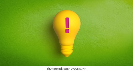 Ideas and innovation concept: 3D rendered retro type yellow light bulb on green background. Red exclamation mark for attention. Be careful. Announcement of an idea. Problem notification. Alarm icon