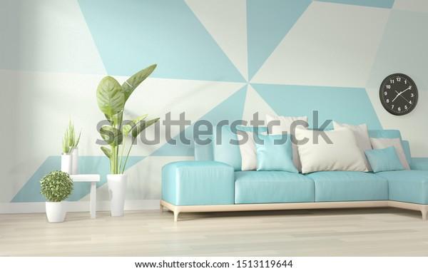 Ideas Light Blue White Living Room Stock Illustration 1513119644