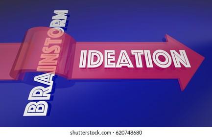 Ideation Vs Brainstorm New Process Thinking Ideas 3d Illustration