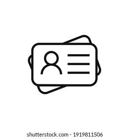 Identification card outline icon illustration