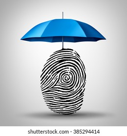 Identification protection and ID fraud safety as an umbrella protecting a fingerprint or finger print icon as an identity security symbol and consumer information guard.
