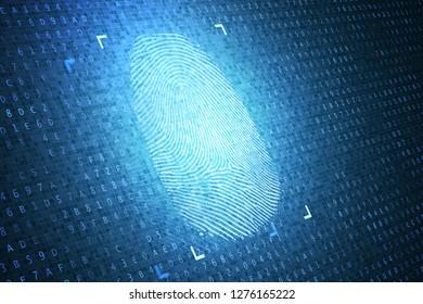 Identification and security concept. Digital fingerprint. 3D rendered illustration.