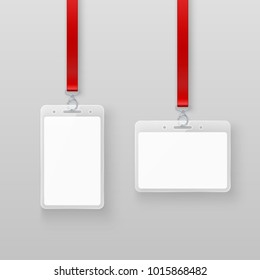 Identification white empty blank plastic id cards set. Authorization system in events or in office. illustration isolated on gray background