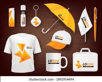 Identity. Business corporate souvenir promotion stationery items uniform badges packages pen lighter cap realistic mockup