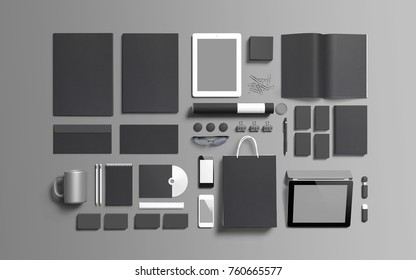 Identity eobjects isolated on grey. Branding set to showcase your presentation. 3d render - top view.