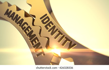 Identity Management on the Golden Cog Gears. Identity Management on Mechanism of Golden Cog Gears. Identity Management on Mechanism of Golden Gears with Glow Effect. 3D.