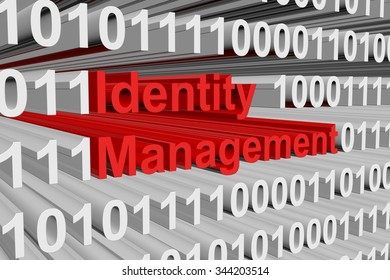 Identity management is presented in the form of binary code 3d illustration