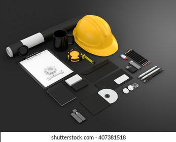 Identity mock up for construction or industrial company. Set of blank stationery for branding identity on black background. Helmet, roulette, wrench, paper A4, business cards. 3D illustration.