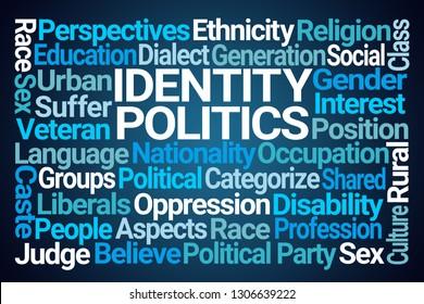 Identity Politics Word Cloud on Blue Background