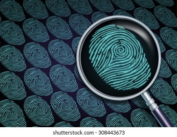 Identity search concept or choosing the right employee as a recruitment and human resource symbol with a magnifying glass close up of a finger print or fingerprint as a security technology metaphor.