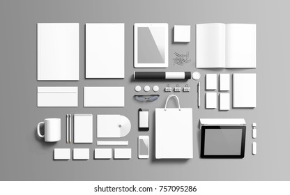 Identity set on wooden background. 3D rendering of objects to showcase your presentation. Isometric view.