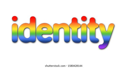 An identity sign text in 3D illustration with rainbow colors isolated on a white background