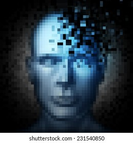 Identity theft internet security concept as a human face that is pixelated with pixels being taken away as a metaphor and technology symbol for protection of personal information on social media.