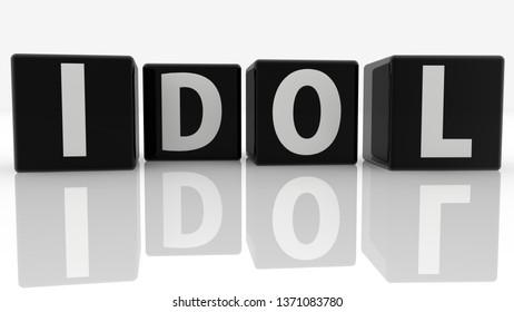 Idol concept on black cubes.3d illustration