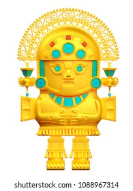 idol of inca culture, gold native statuette. 3d illustration