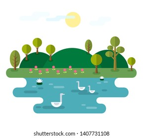 Idyllic Landscape With Lake. Illustration with Nature scene, with hills, trees, pond with water lilies and swans.