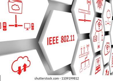 IEEE 802 11 concept cell background 3d illustration