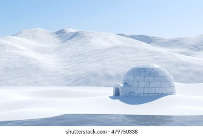 Igloo isolated in snowfield with lake and snowy mountain, Arctic landscape scene, 3D rendering