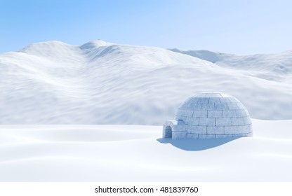 Igloo isolated in snowfield with snowy mountain, Arctic landscape scene, 3D rendering