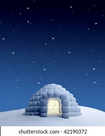Igloo in a North Pole landscape at night