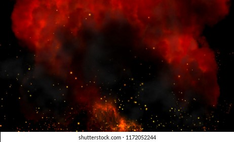 Ignition, burning of flammable substances. Raging flames, cloud sparks and smoke. 3D illustration