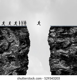 Ignore limitations concept as a business metaphor for incredible confidence to succeed in a 3D illustration style as a group of people stopped at a cliff with one individual crossing the gap.