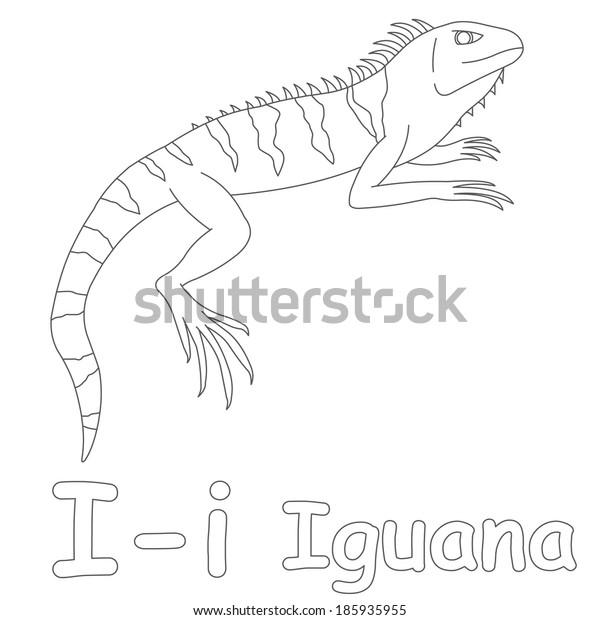 I for Iguana Coloring Page