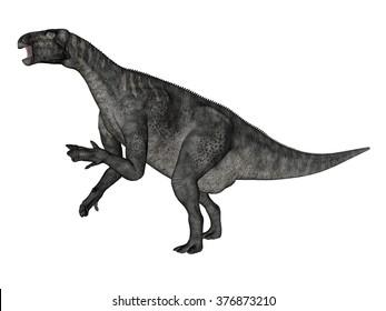 Iguanodon dinosaur roaring while walking - 3D render