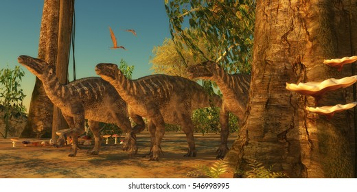 Iguanodons in Forest 3D illustration - Iguanodon dinosaurs make their way among the trees of a Cretaceous forest as Zhejiangopterus reptiles fly over.