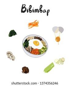 IIllustration for recipe bibimbap. Bibimbap korean traditional dish with fried egg. Asian cuisine. Set of ingredients for cooking bibimbap. Hand drawn colorful illustration.