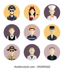 Iimage of collection of flat icons with professions