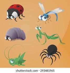 Iimage of funny cartoon bugs icons