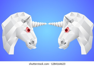 Iimage of head of a unicorn on a blue background. Low polygonal silhouette of a white animal with large red eyes.