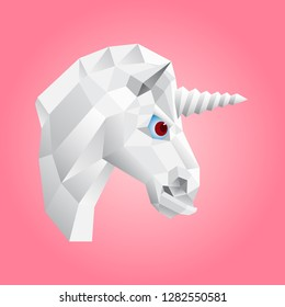 Iimage of head of a unicorn on a pink background in the square. Low polygonal silhouette of a white animal with large red eyes.