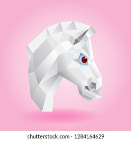 Iimage of the horse's head on a pink background in a square. Low polygonal silhouette of a white animal with large red eyes.