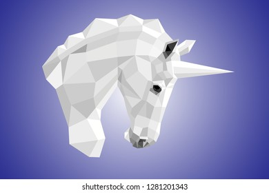 Iimage of the unicorn's white head in profile in polygonal design on a blue gradient background.