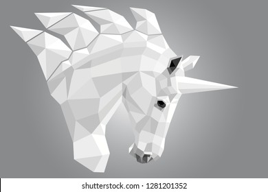 Iimage of the unicorn's white head in profile in polygonal design on a gray gradient background.