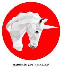 Iimage of the unicorn's white head in a profile in polygonal design in a red circle.