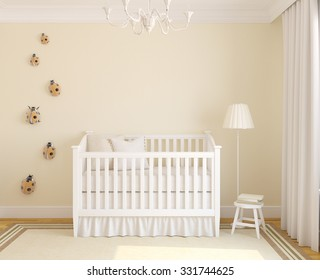 Iinterior of nursery with crib. Frontal view. 3d render.